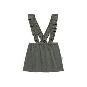 overgooier Salopette Dress Dots met all over print en ruches olijfgroen