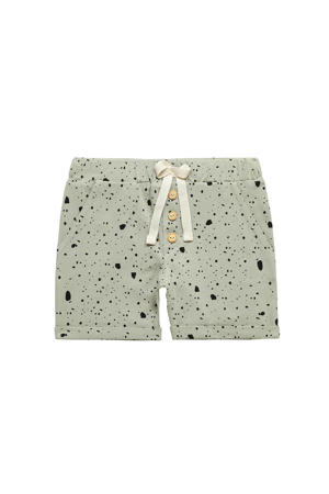 regular fit sweatshort met all over print grijsgroen/zwart