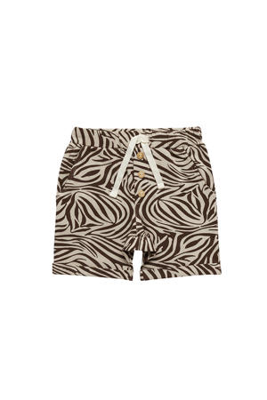 regular fit sweatshort met zebraprint bruin/wit