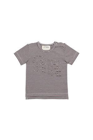 gestreept T-shirt bruin/wit
