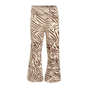 flared broek Flared Pants Zebra met zebraprint bruin/wit