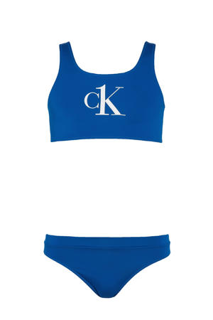 crop bikini met logo blauw