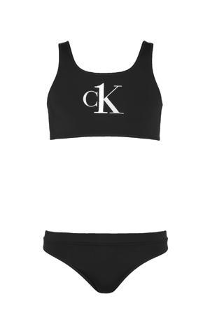 crop bikini met logo zwart