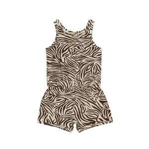 jumpsuit Jumpsuit Short Zebra met zebraprint bruin/wit