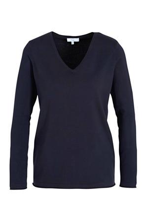 fijngebreide trui Yola donkerblauw