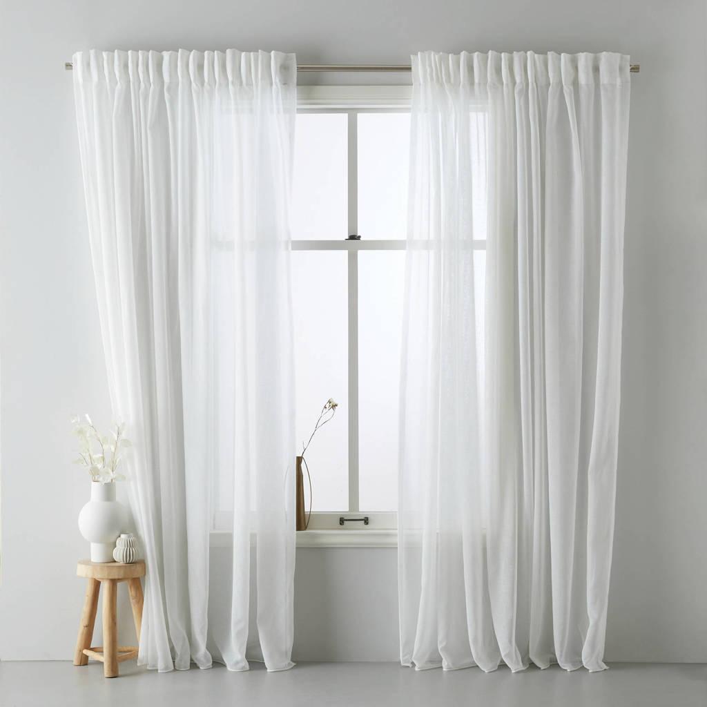 Wehkamp Home vitrage kant en klaar transparant gordijn (per stuk) (450 x 315 cm), Off-White