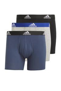 adidas Performance sportboxer (set van 3), Zwart/grijs/donkerblauw
