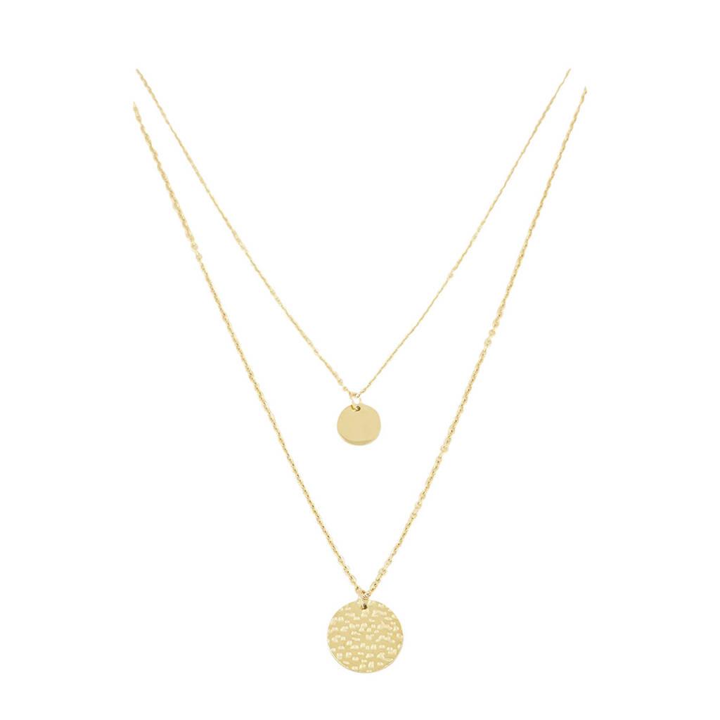 My Jewellery dubbele ketting met muntjes MJ01884 goudkleurig, Goudkleurig