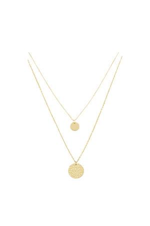 dubbele ketting met muntjes MJ01884 goudkleurig