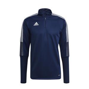Tiro 21 voetbalsweater donkerblauw/wit