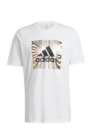 fleece sport T-shirt wit/goud/zwart