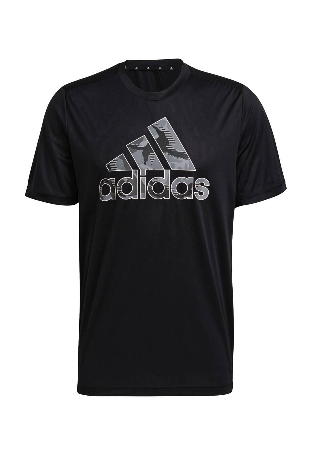 adidas Performance   Designed2Move sport T-shirt zwart, Zwart