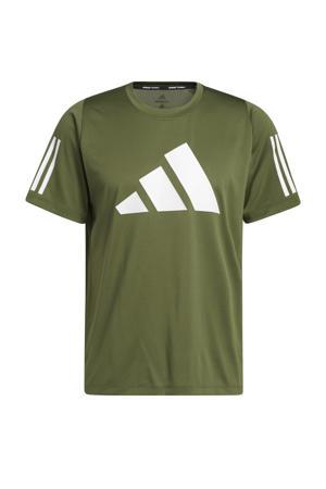 sport T-shirt kaki/wit
