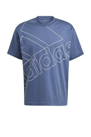 sport T-shirt blauw/wit