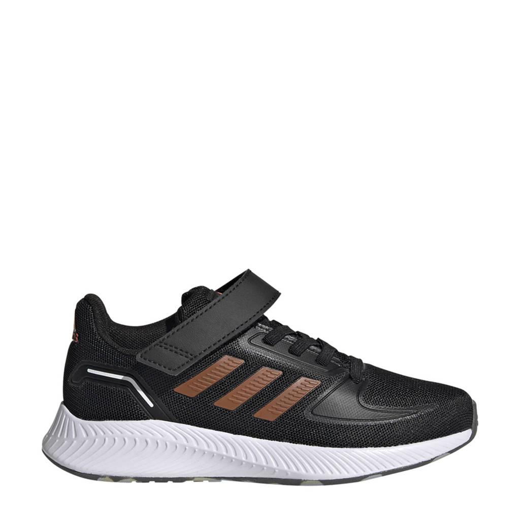 adidas Performance Runfalcon 2.0 Classic hardloopschoenen zwart/oranje/wit kids, Zwart/oranje/wit
