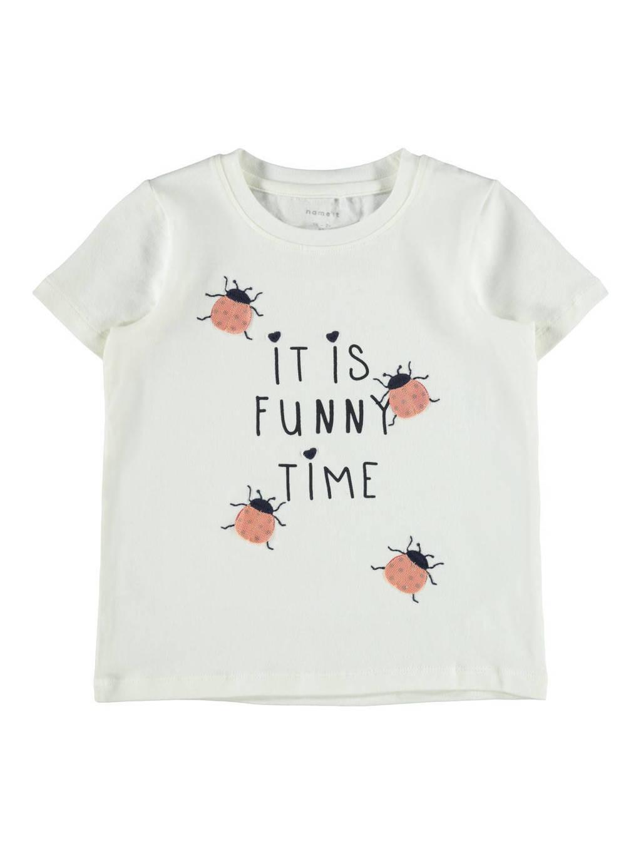 NAME IT MINI T-shirt Dasa met biologisch katoen wit/roze, Wit/roze