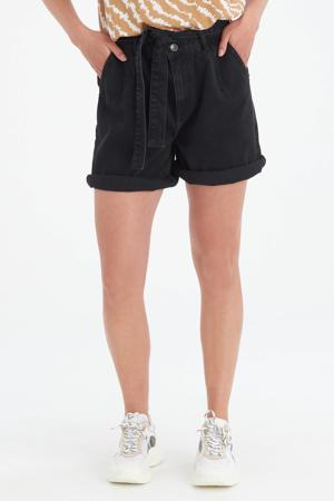 high waist jeans short Pia Denim zwart