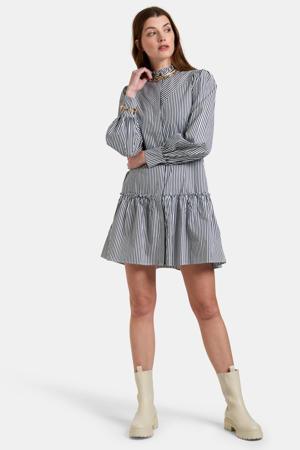 gestreepte blousejurk Alice zwart/wit