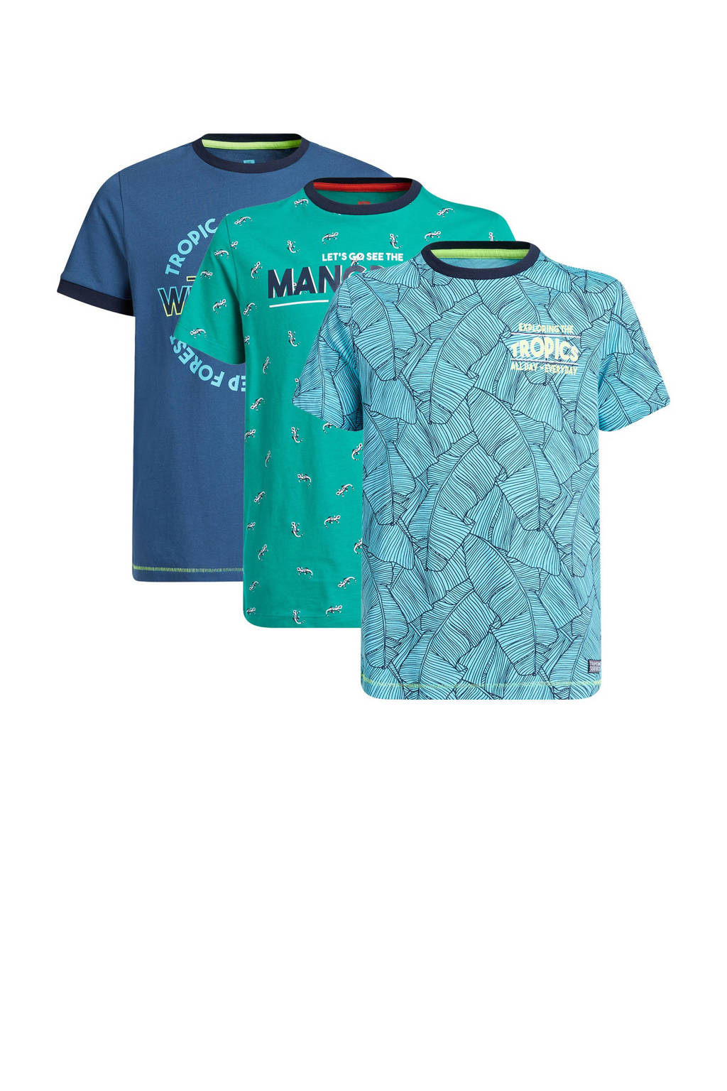WE Fashion T-shirt - set van 3 blauw/groen/turquoise, Blauw/groen/turquoise