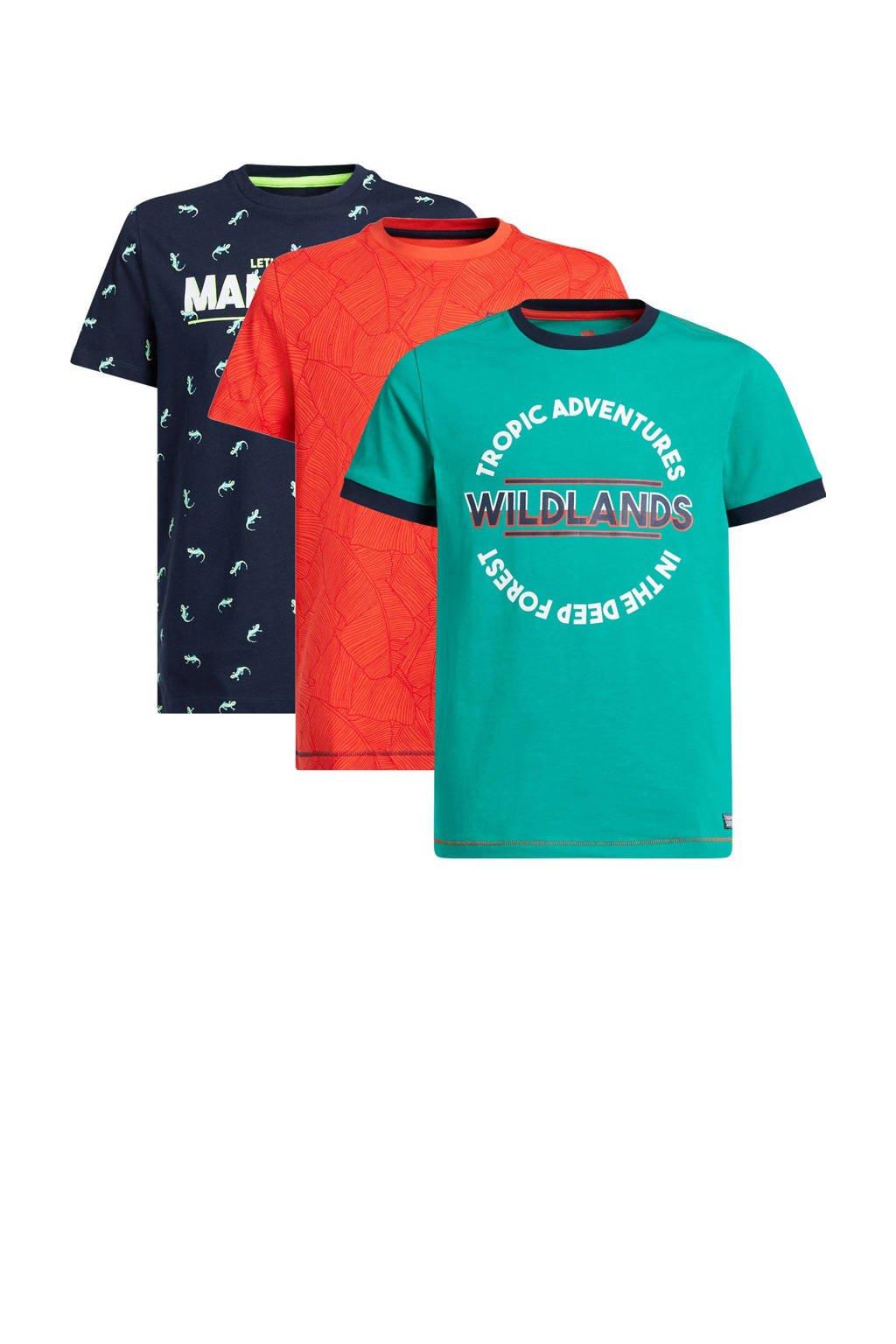 WE Fashion T-shirt - set van 3 groen/koraalrood/blauw, Groen/koraalrood/donkerblauw