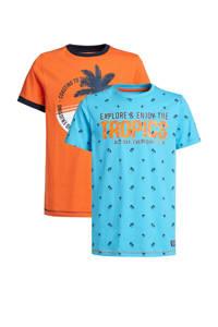 WE Fashion T-shirt - set van 2 met printopdruk multi color, Oranje/wit/donkerblauw