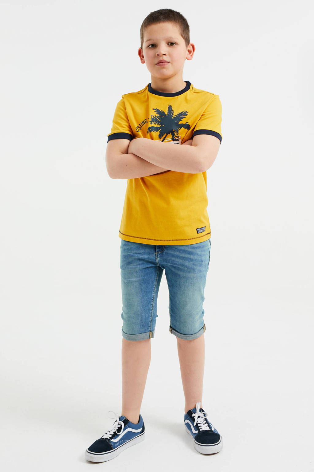 WE Fashion T-shirt - set van 2 donkerblauw/geel, Donkerblauw/geel