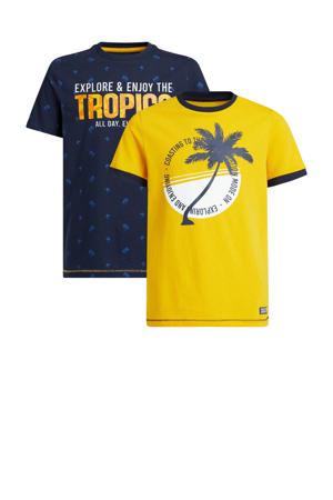 T-shirt - set van 2 donkerblauw/geel