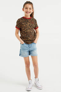 WE Fashion T-shirt met dierenprint bruin/zwart/rood, Bruin/Zwart/Rood