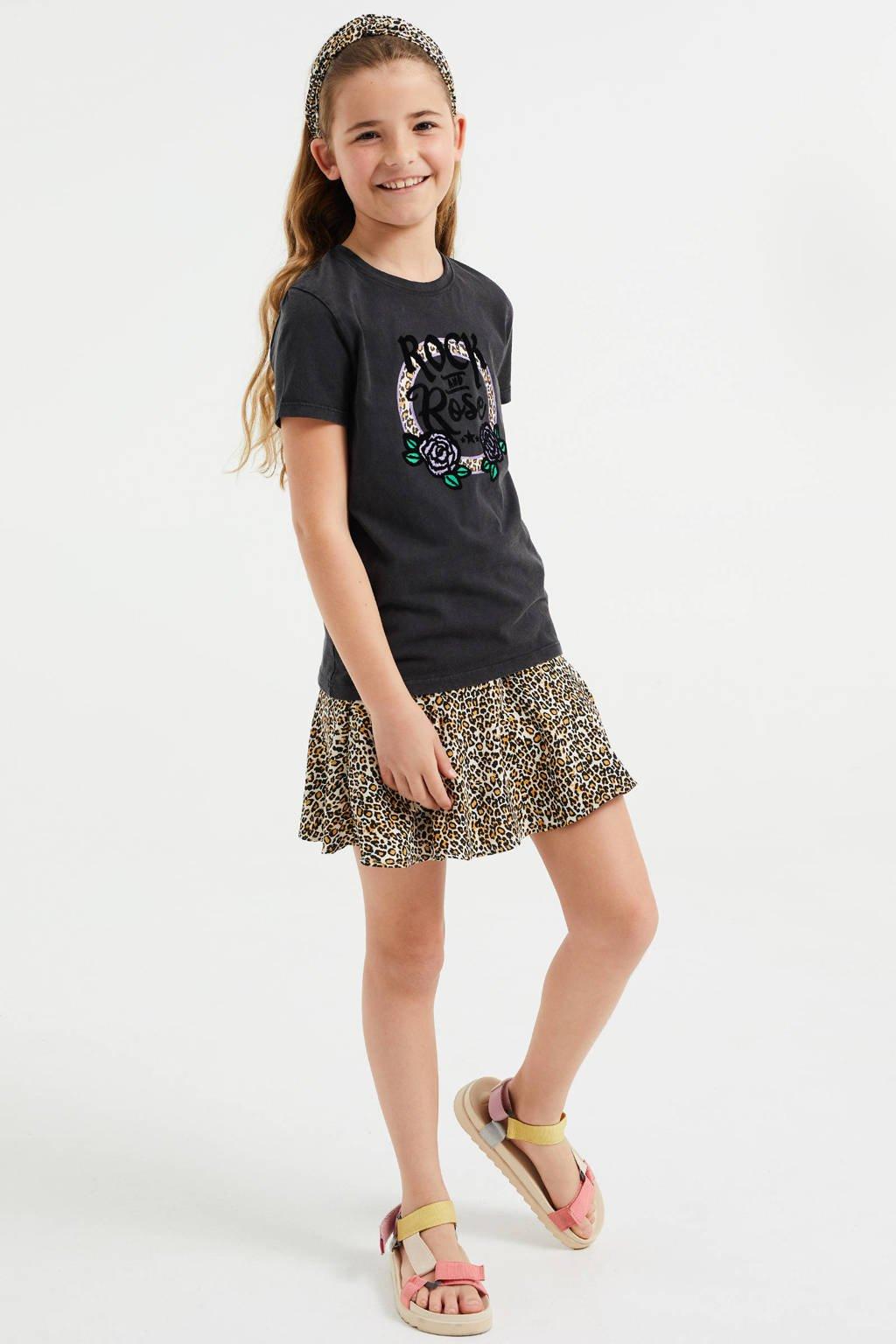 WE Fashion T-shirt met printopdruk antraciet, Antraciet