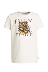 WE Fashion T-shirt met printopdruk ecru/bruin/zwart, Ecru/bruin/zwart