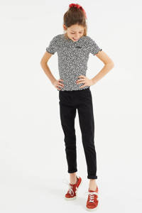 WE Fashion T-shirt met panterprint en textuur zwart/ecru, Zwart/ecru