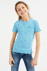 WE Fashion T-shirt met panterprint en textuur blauw/wit, Blauw/wit