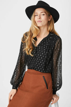 semi-transparante blouse met glitters zwart/goud