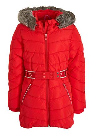 gewatteerde winterjas met ceintuur rood