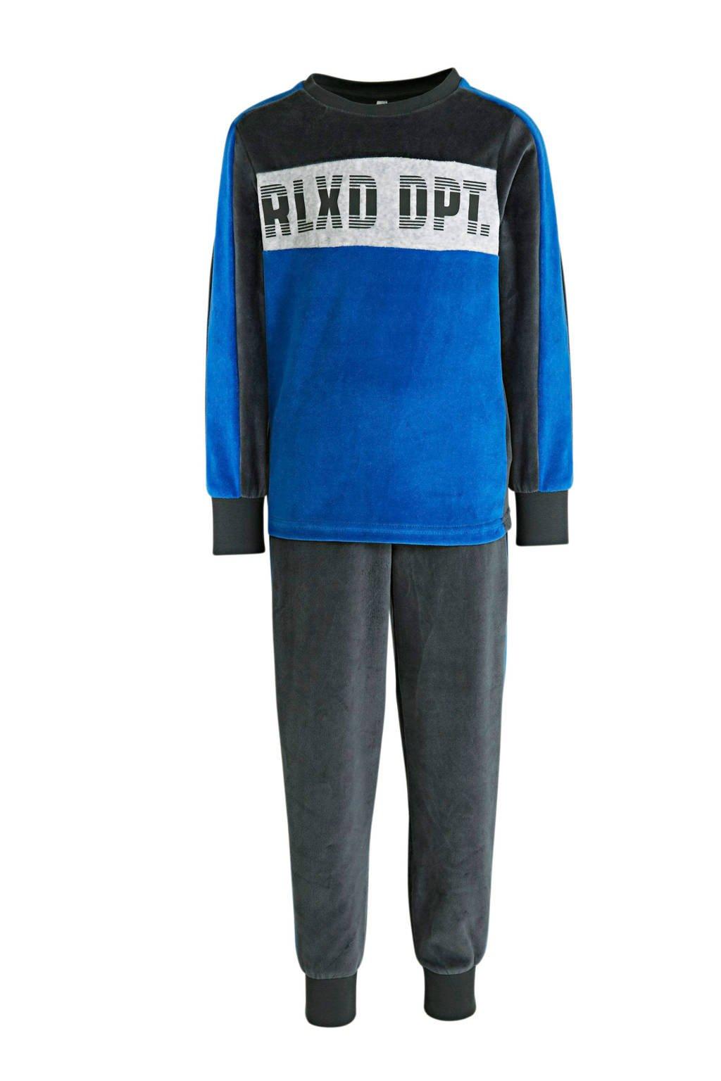 C&A Here & There   pyjama van biologisch katoen blauw/antraciet, Blauw/antraciet
