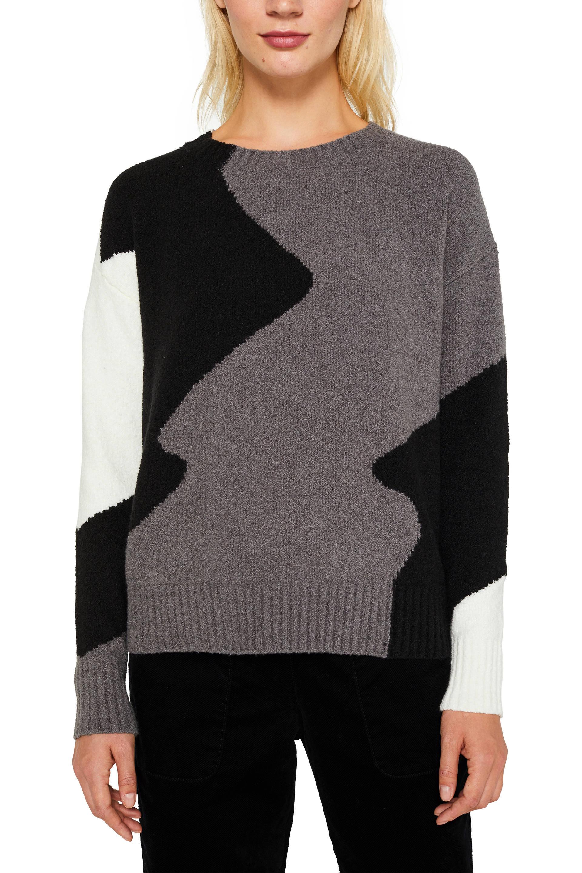 ESPRIT Women Casual gebreide trui grijszwartwit | wehkamp