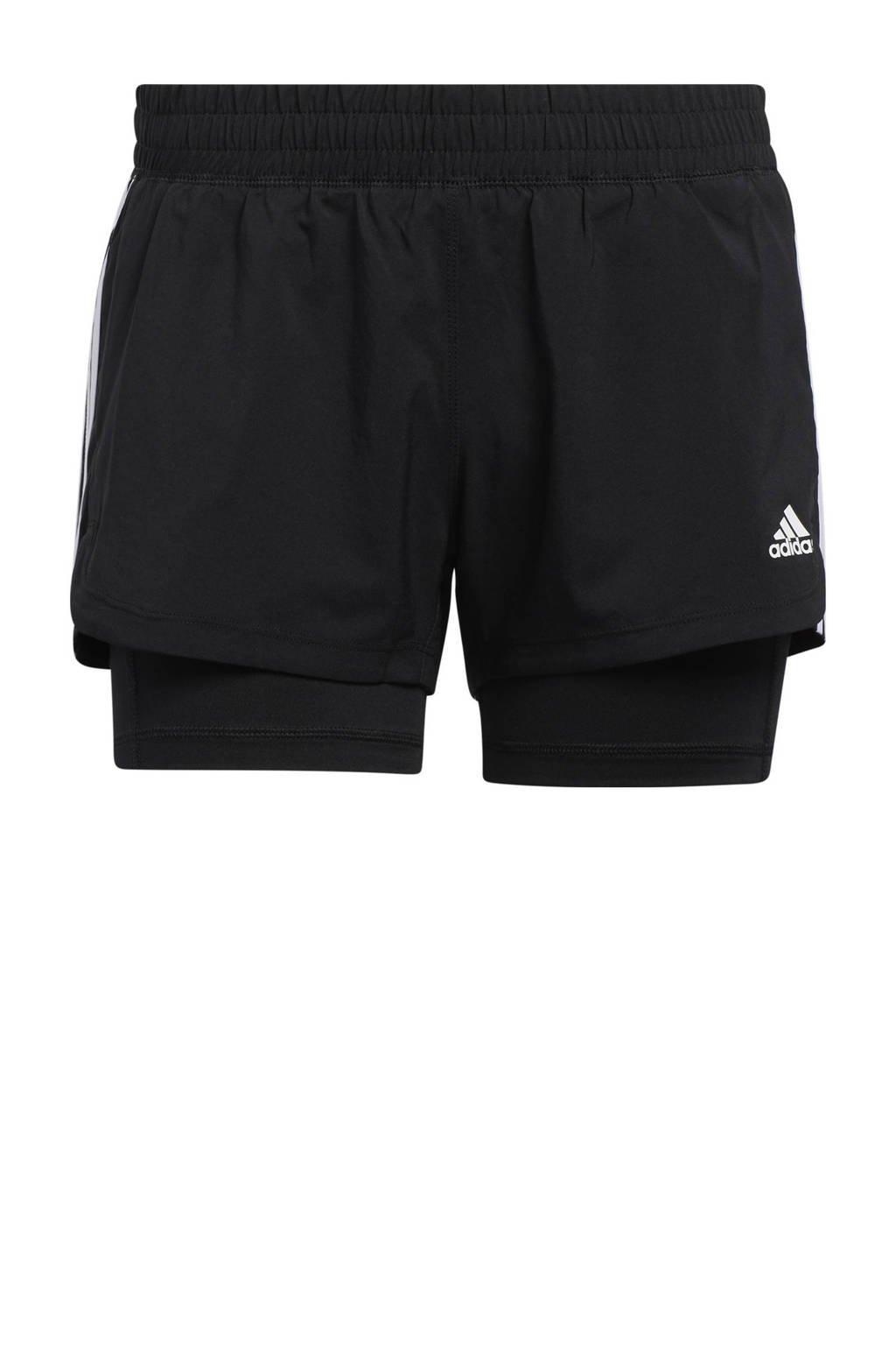 adidas Performance 2-in-1 sportshort zwart/wit, Zwart/wit