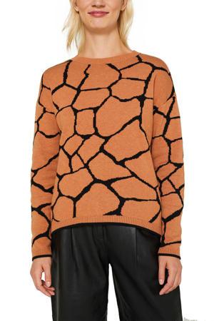 fijngebreide trui oranje/zwart