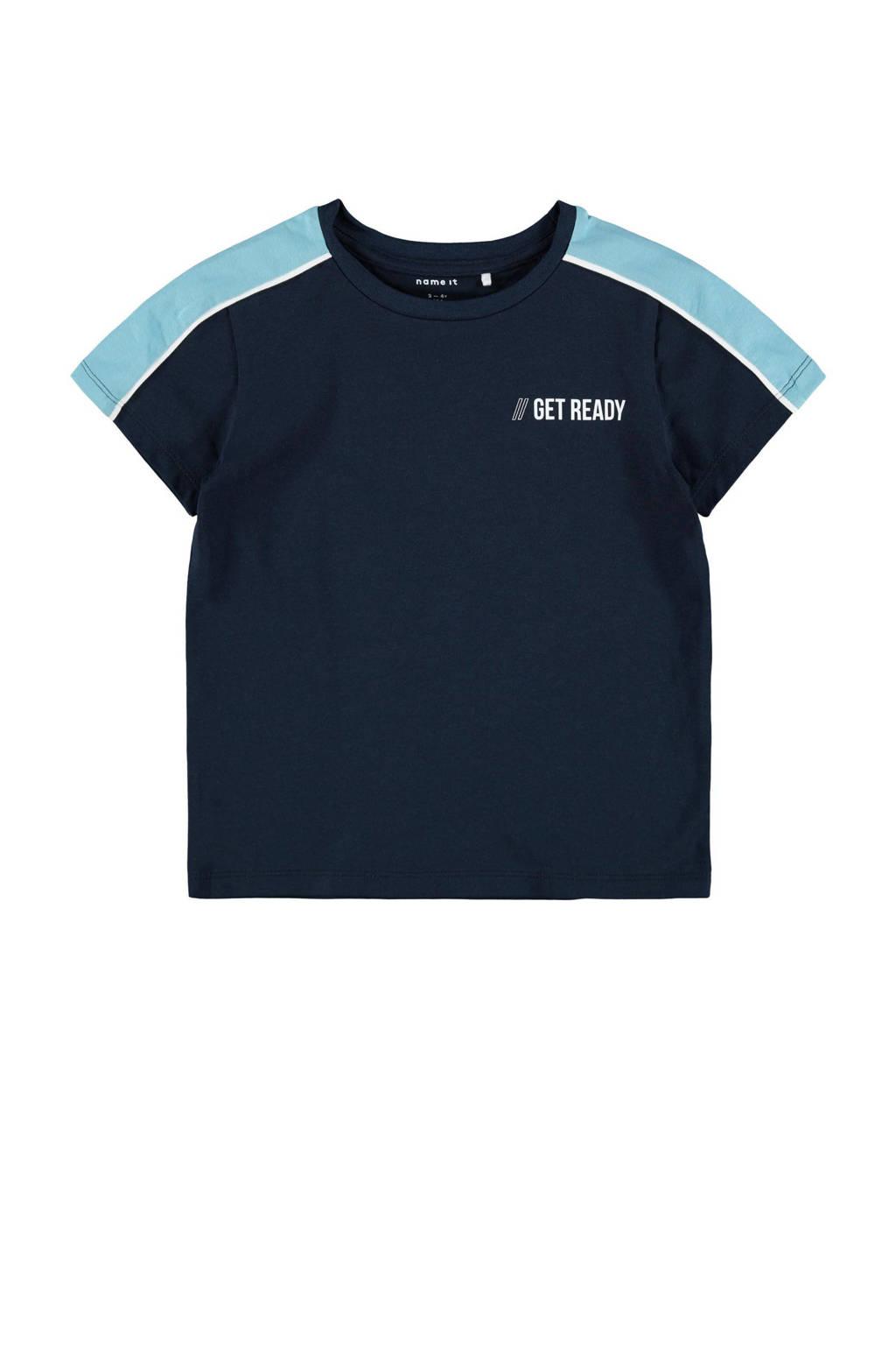 NAME IT MINI T-shirt Dallo met biologisch katoen donkerblauw, Donkerblauw