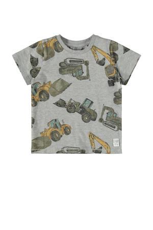 T-shirt Donniso met biologisch katoen grijs melange/geel