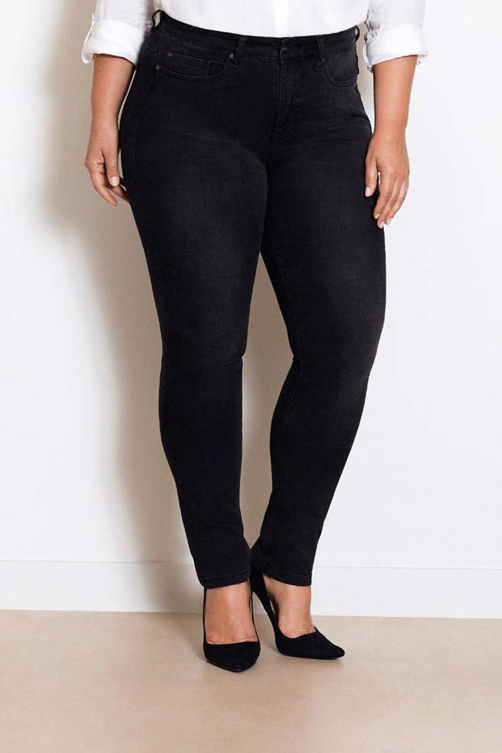 Fox Factor IRI Jet Black high waist slim fit jeans, Zwart stonewashed