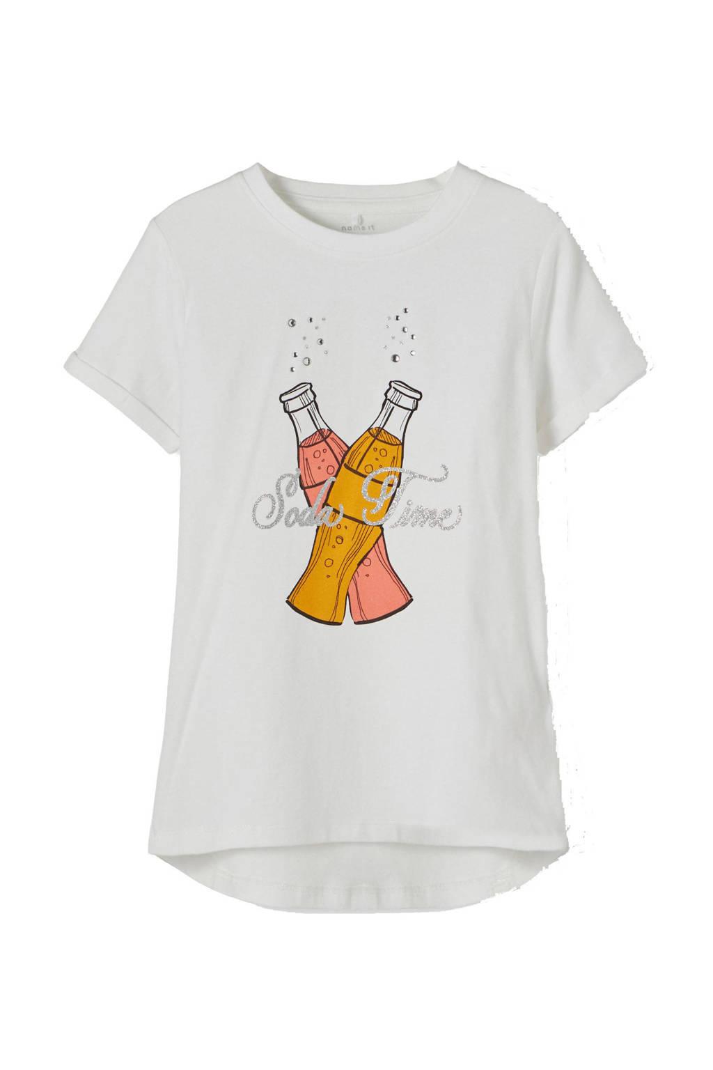 NAME IT KIDS T-shirt Icon met biologisch katoen wit/geel, Wit/geel