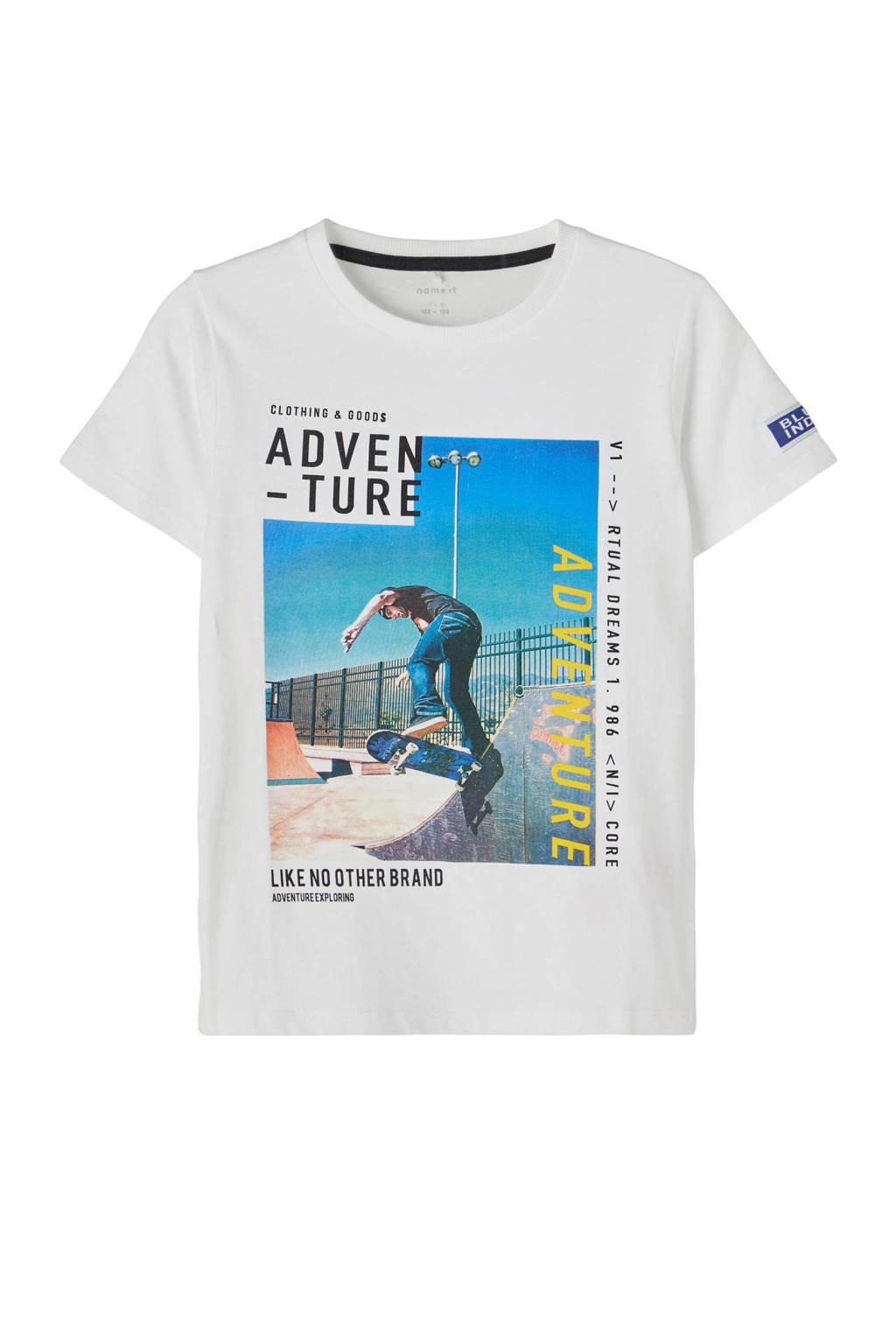 NAME IT KIDS T-shirt Damiro met biologisch katoen wit/blauw, Wit/blauw