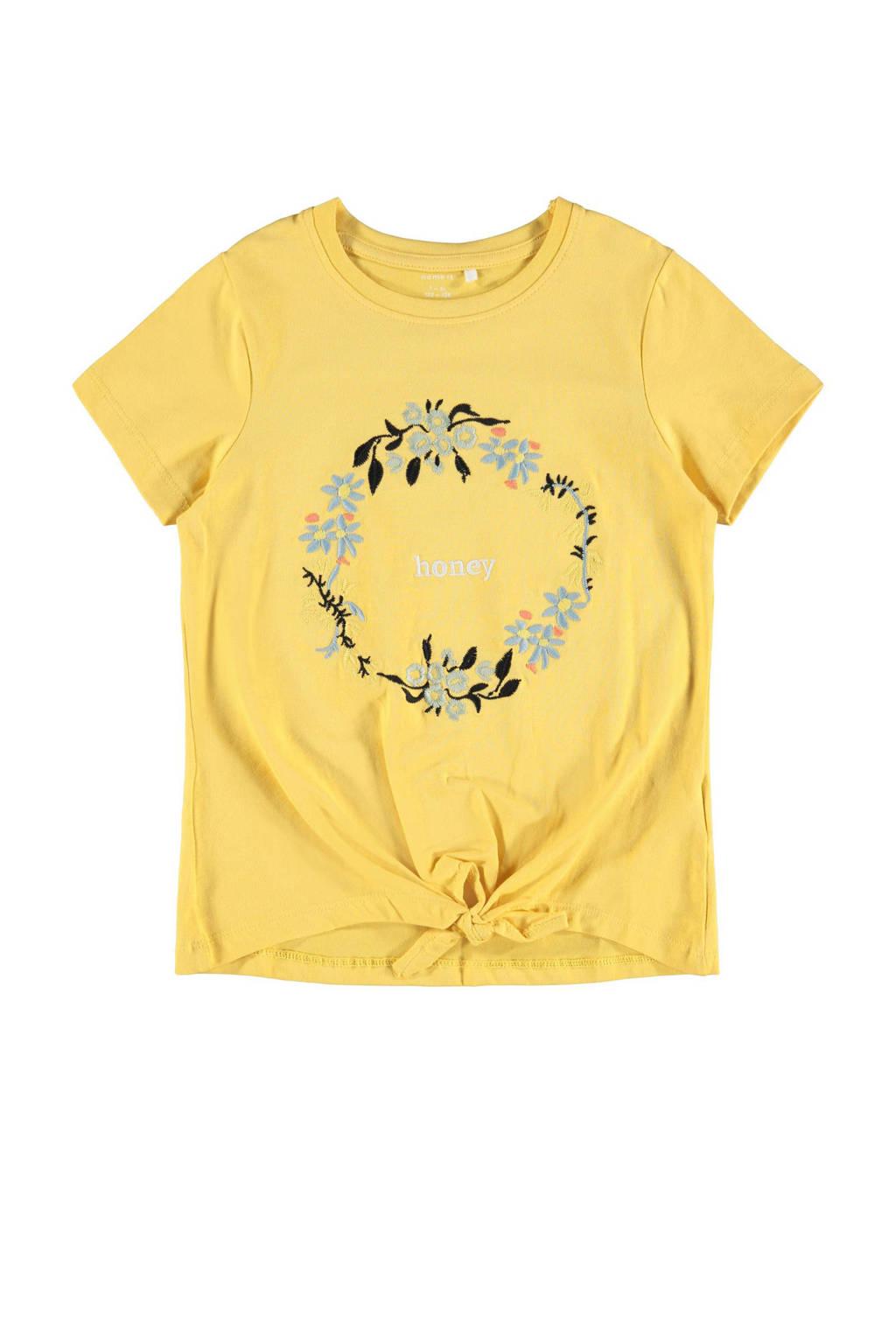 NAME IT KIDS T-shirt Daisi met biologisch katoen geel, Geel