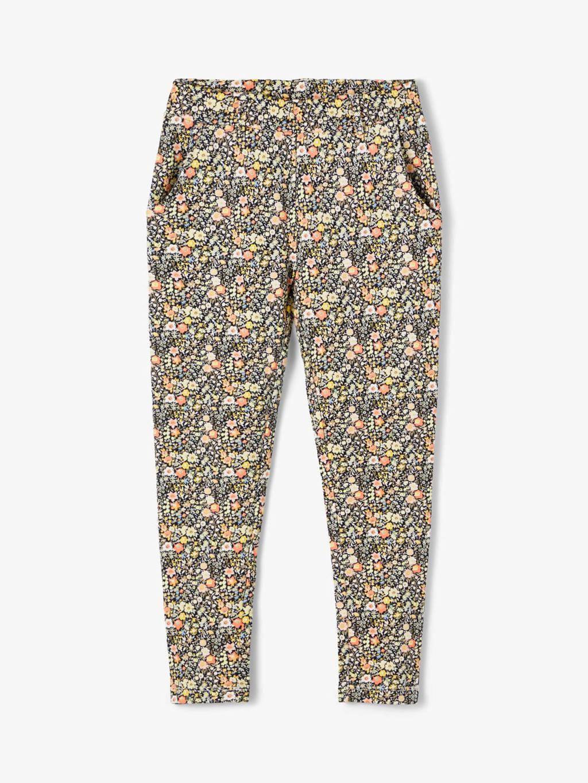 NAME IT KIDS gebloemde regular fit broek Dula geel/oranje/donkerblauw, Geel/oranje/donkerblauw
