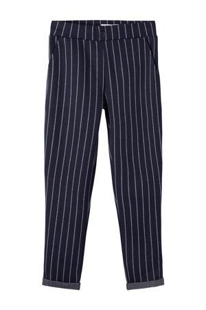 gestreepte regular fit broek Domas donkerblauw