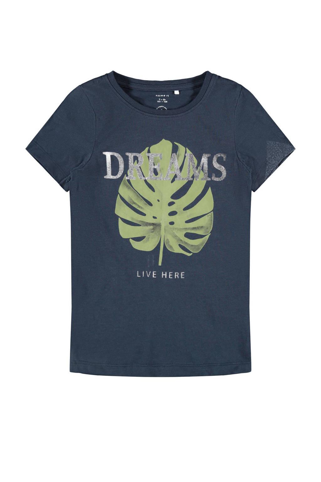NAME IT KIDS T-shirt Delfine van biologisch katoen donkerblauw/groen/zilver