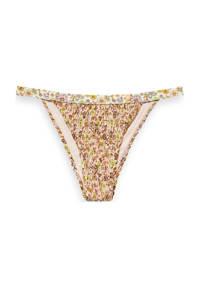 Scotch & Soda gebloemd brazilian bikinibroekje met smock geel/wit, Geel/wit