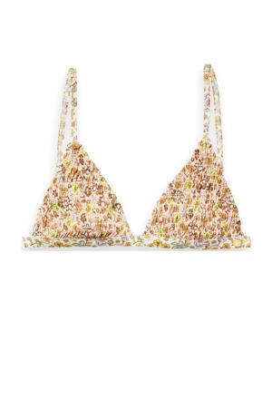 gebloemde triangel bikinitop met smock geel/wit