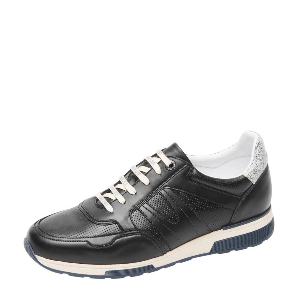 Van Lier Positano  leren sneakers zwart, Zwart